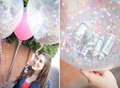 Confetti balloon DIY – Sugar and Charm. A great playful idea for a birthday party. Hide your money gift inside clear balloons that you have filled with lots of colorful confetti. The birthday girl pops the balloon, gets her cash and is showered… Clear Balloons, Confetti Balloons, Diy Confetti, Glitter Balloons, Glitter Confetti, Latex Balloons, Homemade Gifts, Diy Gifts, Graduation Gifts