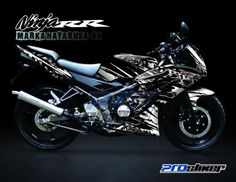Striping Ninja 150 RR New Hitam Motif Marka Hayabusa White - Stiker Motor Modifikasi Cutting Sticker Decal Ninja RR Full Body