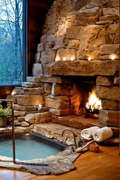 Breathtaking Luxury Hot Tub Ideas That Inspire You DecorTrendy - A . - Breathtaking Luxury Hot Tub Ideas That Inspire You DecorTrendy – A … # stunning - # Rustic Bathroom Designs, Rustic Bathrooms, Dream Bathrooms, Large Bathrooms, Cabin Homes, Log Homes, Rustic Hot Tubs, Spa Luxe, Fireplace Design