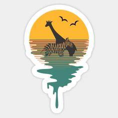 Stickers by iZiets | TeePublic Sun Background, Lovers Art, Tweety, Retro Fashion, Giraffe, Mandala, Wildlife, Pastel, Tapestry