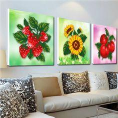 3D strawberry sunflowers apple cross stitch kit 5d DIY diamond painting set embroidery rhinestone round kitchen wall home decor(China (Mainland))
