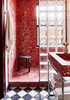 Terrazo Wall Bathroom Ideas - Home of Pondo - Home Design Blush Bathroom, Bathroom Red, Bathroom Interior, Modern Bathroom, The Block Bathroom, Bathroom Bidet, Red Bathrooms, Hotel Bathroom Design, Hotel Bathrooms