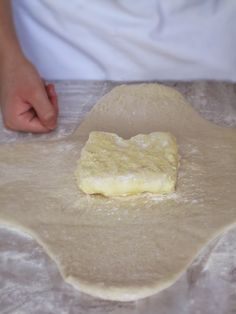 Beurrage (block of butter and flour) on the clover-leaf shaped detrempe (puff pastry or croissant dough) French Croissant, Croissant Dough, Croissant Recipe, Butter Block, Dry Yeast, A 17, Bread Baking, Cooking Recipes, Bread Recipes