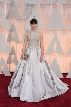 Felicity Jones sparkles in silver Alexander McQueen number at the OScars 2015