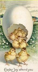 One egg, many chicks ~ vintage Easter postcard Easter Art, Easter Crafts, Vintage Easter, Vintage Holiday, Vintage Greeting Cards, Vintage Postcards, Decoupage, Easter Pictures, Easter Parade