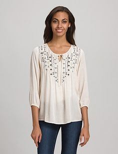 Textured Embroidered Peasant Blouse | Dressbarn