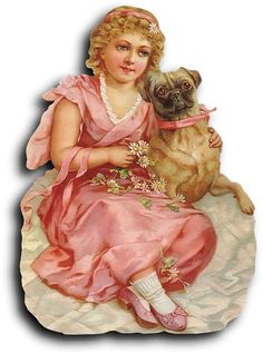 Victorian scrap: Girl with dog