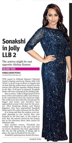 """""""Sonakshis spokesperson denied the buzz"""" still such a long article  im not a part of JollyLLB. Noor is next for me."""