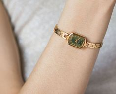 Green ladys watch Ray, cocktail watch gold plated, womens watch rectangular, small lady watch, barcelet watch petite