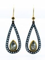 Todd Reed 18k Gold & Silver Earrings with Fancy Cut & Round Brilliant Diamonds