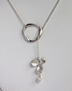 Silver Hoop and Orchid Flower Necklace