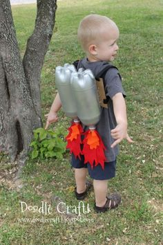 P is, somewhat inexplicably, crazy about jetpacks right now.  Maybe this with a felt aviator helmet and goggles?