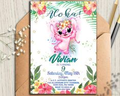 Lilo and Stitch Stitch Invitations, Lilo and Stitch Luau Party Invitations, Lilo and Stitch Birthday, Lilo and Stitch Party Invites Luau Party Invitations, Printable Birthday Invitations, Invites, Baby Shower Gender Reveal, Baby Shower Themes, Stitch Birthday, Lilo Y Stitch, Diaper Parties, Stitch And Angel
