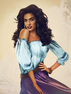 Esmeralda from Disney's version of Hunchback of Notre-Dame, artistically presented by Finnish graphic design student Jirka Väätäinen. She has a collection of similar photos of real models posed as Disney characters, which she's manipulated and retouched with her artistic flair. For more of her artwork, visit her blog at http://jirkavinse.wordpress.com
