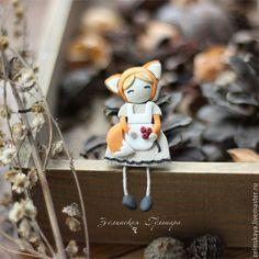 Купить Лисичка. Брошь - оранжевый, рыжий, лиса, лисичка, брошь из полимерной глины, для девочки