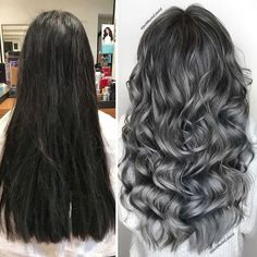 Grey Hair Transformation, Gray Hair Highlights, Curly Hair Styles, Natural Hair Styles, Transition To Gray Hair, Blonde Color, Silver Hair, Hair Looks, New Hair