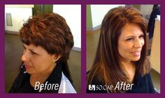 hair extensions before and after - Short hair