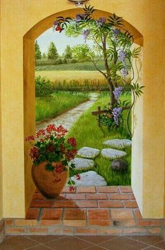 Wall Murals Painted Beautiful Ideas wall is part of Mural wall art - Mural Wall Art, Mural Painting, Painted Wall Murals, Paintings, Garden Mural, Garden Art, Fence Art, Beautiful Artwork, Painting Inspiration