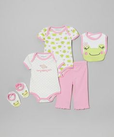 Another great find on #zulily! Pink & Lime Frog Bodysuit Set - Infant #zulilyfinds