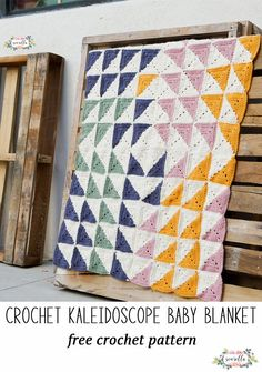 Crochet this kaleidoscope baby blanket made up of half square triangle granny squares! Free easy crochet pattern