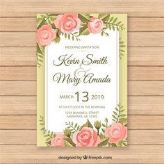 Vintage wedding card template with floral style Free Vector Vintage Wedding Cards, Wedding Card Templates, Floral Style, Vector Free, Wedding Invitations, Album, Frame, Design, Wedding Invitation Templates
