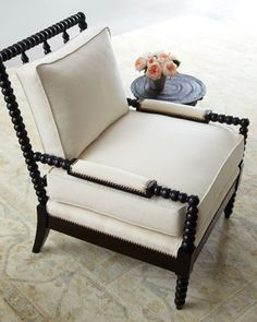 """Ellsworth"" Neutral Spindle-Back Chair by Old Hickory Tannery at Neiman Marcus."