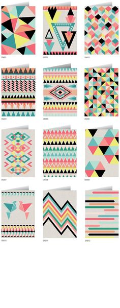 I love these patterns!!!! I think the colours look amazing together and would look amazing on a vase. It is so colourful and is geometric.