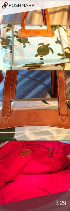 Fossil tote Fun and unique Fossil coated canvas tote. Good used condition. Exterior has a few small, light marks, almost too small to notice (tried to show in pic). Interior is in great condition.   Bundle with another listing and save more! Fossil Bags Totes