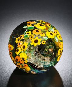 Paperweight Artist | Sunflowers Paperweight: Shawn Messenger: Art Glass Paperweight ...