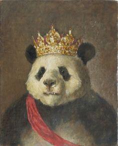 Panda king by Tomoaki Ichikawa Panda Love, Cute Panda, Le Dab, Art D'ours, Panda Mignon, Funny Panda Pictures, Panda Lindo, Art Mignon, Panda Party