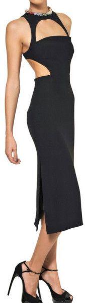 Alexander Mcqueen Swarovski Leaf Viscose Crepe Dress in Black - Lyst