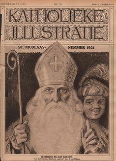 katholieke illustratie 1921 cover 30 nov Sinterklaas | by janwillemsen Old Images, Mona Lisa, Saints, Christmas Ornaments, Artwork, Santa Clause, Printables, Black People, Papa Noel