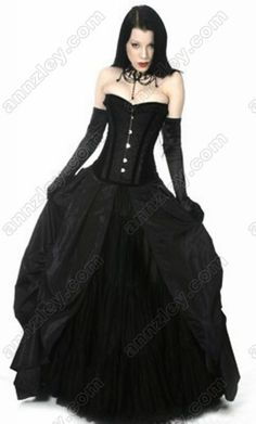 Black Gothic Bustier Long Party Tightlacing Corset Prom Dresses Outfit -- Corset Top,Corsets Wholesale,Sexy Corset Dress,Corset Bustier,High Heels