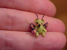 """1/2"""" Fairy TEDDY BEAR -artist Miniature(Thread)Doll house dh/handmade crocheted collectible-OOAK. $165.00, via Etsy."""