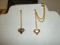 Gold double chain heart ear cuff by KimsHandmadePretties on Etsy, $12.00