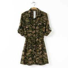 Seventh Sleeve Camouflage Print Shirt Dress