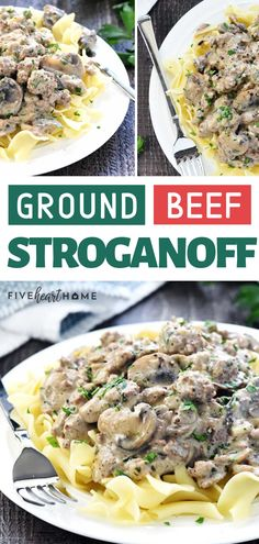 A delicious, quick, and easy version of the classic beef stroganoff recipe! This Ground Beef Stroganoff is an easy food to make for dinner loaded with garlicky mushrooms and finished off with a silky sour cream sauce! Add this to your comfort food list! Healthy Ground Beef, Ground Beef Recipes For Dinner, Dinner With Ground Beef, Dinner Recipes, Classic Beef Stroganoff Recipe, Easy Stroganoff Recipe, Healthy Beef Recipes, Healthy Lunches, Dinner Healthy