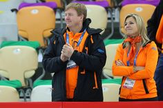 King Willem-Alexander of the Netherlands and Queen Maxima of the Netherlands are seen during the Speed Skating Women's 500m Event during day 4 of the Sochi 2014 Winter Olympics at at Adler Arena Skating Center on February 11, 2014 in Sochi, Russia.