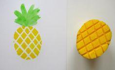 Kartoffeldruck Ananas