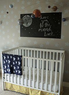 Going with the Flow - Laurie Jones Home Outer Space Nursery, Space Themed Nursery, Nursery Themes, Nursery Ideas, Room Ideas, Circus Nursery, Bear Nursery, Nursery Room, Shared Boys Rooms