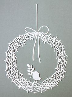 card games: wreath with bird papercut