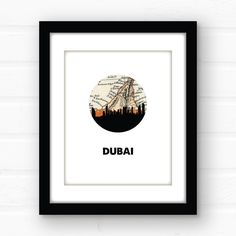 Dubai skyline art | giclee print. Dubai skyline art featuring the Dubai skyline and a vintage Dubai map. Printed using archival quality inks on fine art paper, this print is guaranteed not to fade before you do! Available in 5x7, 8x10, and 11x14 PLEASE NOTE - the black frame around the display photo will not be included - this listing is for an unmatted, unframed print only.