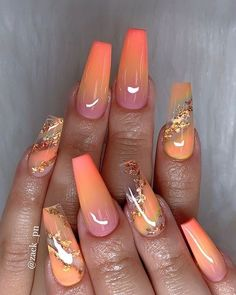 Ombre pink and orange and gold glitter on almond nails - 40 Fabulous Nail Designs That Are Totally in Season Right Now - clear nail art designs,almond nail art design, acrylic nail art, nail designs with glitter cutenails Fall Acrylic Nails, Cute Acrylic Nails, Acrylic Nails Orange, Colourful Acrylic Nails, Acrylic Art, Fabulous Nails, Gorgeous Nails, Pretty Nails, Pretty Makeup