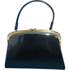 Black Patent Trapezoid Curved Frame Handbag Purse