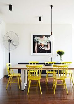 """The photographic print on the wall, """"Thousand Secrets"""" by Deborah Paauwe, is a striking feature in the open-plan kitchen and dining room."""