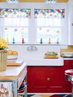 """red cupboards, huge vintage sink, stained glass, pretty windows """"sigh"""" i think i… Kitchen Window Valances, Kitchen Sink Window, Kitchen Window Treatments, Glass Kitchen, Kitchen Decor, Kitchen Ideas, Kitchen Tips, Vintage Sink, Stained Glass Panels"""