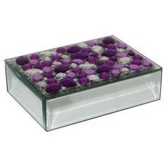 """Mirrored glass box with purple jeweled accents.  Product: BoxConstruction Material: Mirrored glass Color: PurpleFeatures: Jeweled accentsDimensions: 2"""" H x 7.25"""" W x 5"""" D"""