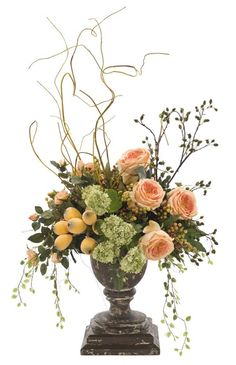 Natural Decorations, Inc. - Rose Snowball | Wooden Urn | Orange Peach Green