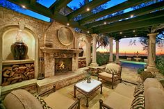 gorgeous pergola with fireplace - Add to the Theme of California Room