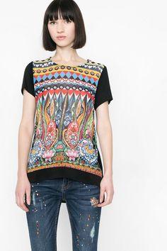 Printed T-shirt with a shirt hem | Desigual.com